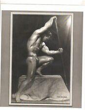 bodybuilder JOHN GRIMEK Bodybuilding Posing With Spear Muscle Photo B&W