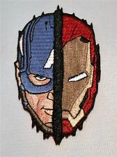 """Captain America SPLIT FACE EMBROIDERED PATCH 3.5"""" X 2"""" GREAT PATCH!!!"""