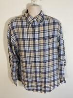Brooks Brothers Mens XL All Irish Linen Slim Fit Blue Beige Plaid Button Shirt