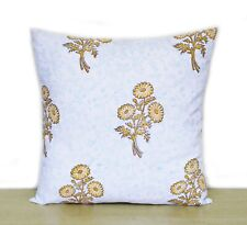 Indian Yellow Floral Printed Hand Block 16x16 Cushion Cover Pillow Case Covers