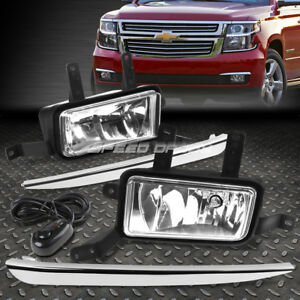 FOR 15-20 CHEVY TAHOE SUBURBAN CLEAR LENS FRONT BUMPER FOG LIGHT LAMPS W/SWITCH
