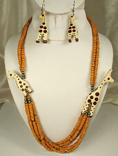 Vtg Giraffe Necklace Earrings Set Artisan Handmade Wood Glass Metal Excellent