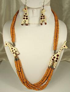 VTG GIRAFFE SET Necklace Earrings ARTISAN HANDMADE Wood Glass Metal EXCELLENT
