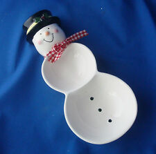 "11"" ceramic Snowman candy dish divided dual bowl or wall hanging Loomco 1999"