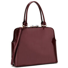 New Womens Handbags Patent Leather Satchel Tote Bag Shoulder Bag Kiss Lock Purse