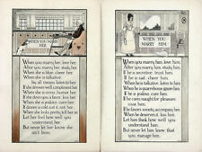 WHEN YOU MARRY HIM & HER Antq/Vtg c1915-20 (SET OF 2) Art Motto Prints BUZZ WARE
