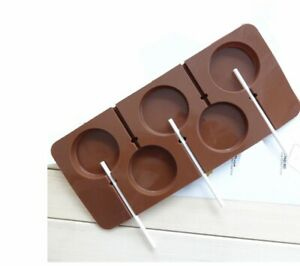 SILICONE ROUND LOLLY LOLLIPOP MOULD 5 SHAPES 5CM DIA CANDY CHOCOLATE UK SELLER