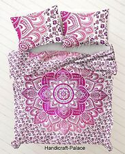 Pink Ombre Mandala Hippie Indian Cotton Reversible Twin Duvet & Pillow Cover