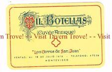 Unused 1940s URUGUAY Montevideo Los Cerros de San Juan Mil Botellas Cuvee Wine