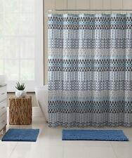 Vcny Home Teal Blue Gray Beige Fabric Shower Curtain: Floral Geometric Nwop
