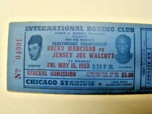 Vintage 1953 Rocky Marciano vs. Jersey Joe Walcott Boxing Ticket Stub Chicago IL