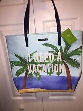 NWOT KATE SPADE I NEED A VACATION BON SHOPPER TOTE, BEACH BAG, PALM TREES SEA