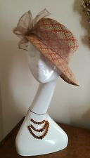 VINTAGE Brown Beige Medium Brim Hat Cloche With Organza Made in Italy Fabulous!