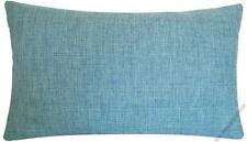 "Aqua Blue Cosmo Linen Decorative Throw Pillow Cover / Cushion Cover 12x16"""