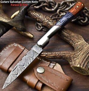 Custom Handmade Damascus Pocket Back-Lock Pocket Folding Knife   HARD WOOD