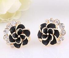 1 Pair Elegant Fashion Women Rhinestone Ear Clip Earrings Crystal Flower Jewelry