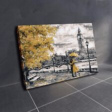 London Oil Painting Artwork Big Ben gold yellow Umbrella Canvas Wall Art Print