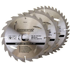 Silverline Circular Saw Blades 190mm 20 24 & 40 Teeth TCT 3 Pack 590591