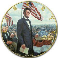 2019 1 Oz Silver $1 ABRAHAM LINCOLN GETTYSBURG ADDRESS EAGLE Coin, 24K GOLD.