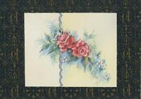 VINTAGE PINK ROSES BLUE GREEN LEAVES LITHO ART PRINT ON ANTIQUE ACEO SIZE PAPER