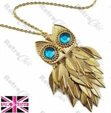 BIG RETRO jingling OWL pendant NECKLACE aqua eyes VINTAGE STYLE antique gold pl