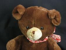 BIG VINTAGE RUSS TEDDY BROWN TAN RED BOW BEAR LOVEY PLUSH STUFFED ANIMAL # 206