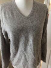 COTTAGE CLOTHING INC Cashmere SWEATER V neck gray long sleeve sz S slits boxy ex