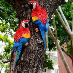 Resin Parrot Bird Statue Craft Garden Ornament Tree Lawn Decor Indoor Outdoor