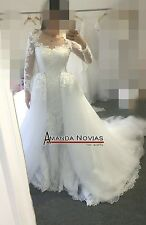 Hot New white / ivory wedding dress Detachable tail custom size 2--10-12-22+++