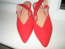 F&F NEW RED FAUX SUEDE FLAT SLING BACK SANDALS SIZE 5/38