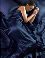 Marineblau Satin Superking Bettbezug+Passendes Leintuch+4 Kissenbezug Bett