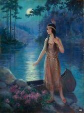 20x26 Canvas MOON SONG Art Deco American INDIAN Maiden Maid GICLEE Pinup CANVAS