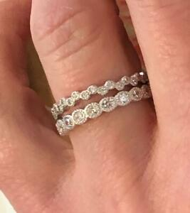 2 Piece Ring Bezel Set CZ Stackable Eternity Bridal Band Bands 925 Silver 5-10