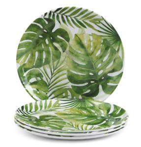 """4 C&C California Banana Leaves Melamine Dinner Plate Set Green Tropical Palm 11"""""""