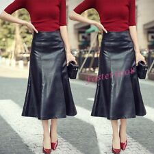 Women's Faux Leather High Waist Long Fistail Skirts Party Mermaid Skirts Dress