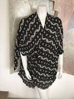 Ecote Black White Aztec Navajo Duster Open Front Blouse Top XS / Small