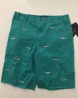 Polo Ralph Lauren Embroidered Shark Chino Shorts Big Boys Turquoise Size 16 NWT