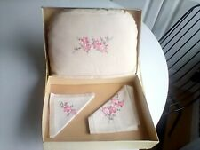 More details for vintage embroidered linen tea cosy, tray cloth and napkin in original box.