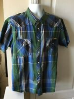 Lucky Brand Men's Western Plaid Shirt Pearl Snap Short Sleeve Size Large
