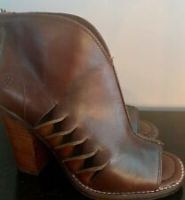 Ariat women's peeptoe booties US 8.5 brown/mahogany leather with side slats