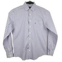 Johnnie-O Mens Blue Plaid Long Sleeve Button Shirt Size Medium