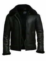 Men's Flying Aviator B3 RAF Real Shearling Fur Bomber Black Sheep Leather Jacket