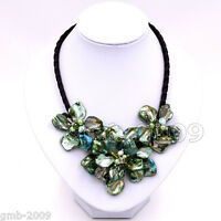 Stunning Handmade Freshwater Pearl green Sea Shell Flower Leather Necklace 18""