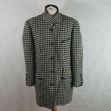 JOBIS Womens Coat White Black Size 42 Wool Alpaca Patterned Lined Vintage Scarf