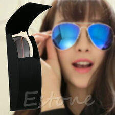 Black Leather Curve Arc Hard Case for Glasses Eyeglass Sunglasses Spectacles