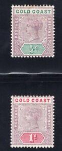 1898-1902 Gold Coast. SC#26-27. SG#26-27. Mint, Hinged, VF.