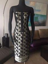 AUTH MARCHESA NOTTE JACQUARD STRAPLESS UNDERWIRED DRESS BLACK/GOLD Sz 8