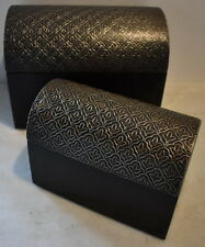 Trunk Box Nested Set 2pc Embossed Whitemetal Lg.19x14x12cm Sml 15x10x8cm