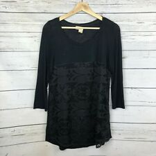 Meadow Rue Knit Top Size Small Womens Black Lace Overlaw Anthropologie Stretch