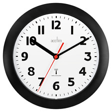 Acctim 74313 Parona Radio Controlled Black Wall Clock 23cm Diameter